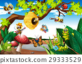 Bees flying around the tree 29333529
