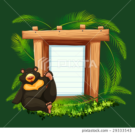 Paper template with bear in forest background 29333543
