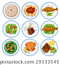 Different types of food on round plates 29333545
