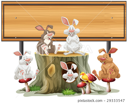 Wodoen sign template with many rabbits 29333547