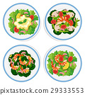 Four types of salad on round plate 29333553