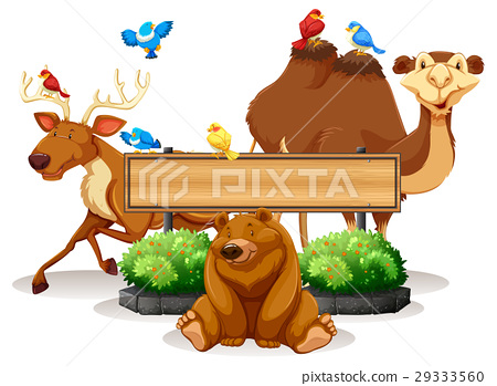 wild animal and wooden sign template stock illustration 29333560