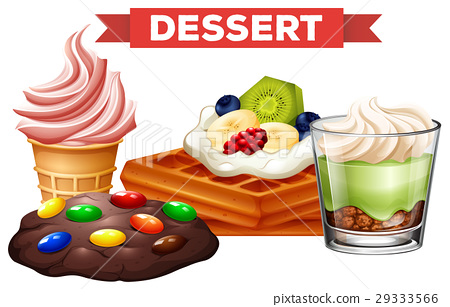 Different desserts on white background 29333566
