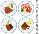 Different grilled meat on plates 29333570