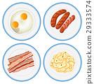 Breakfast set on four plates 29333574