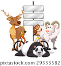 Metal plates on the pole with animals 29333582