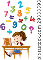 Girl counting numbers with abacus 29333593