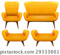 Different design of chairs in yellow color 29333601