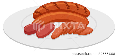 Grilled sausages on round plate 29333668