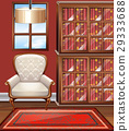 Room with white armchair and bookshelves 29333688