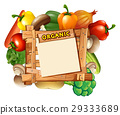 Vegetables around the wooden sign 29333689