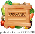 Organic sign and many types of vegetables 29333698