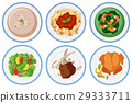 Different types of food on the dish 29333711
