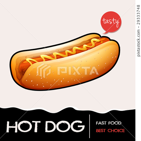 Poster with hotdog with mustard 29333748