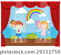 Boy and girl doing puppet show on stage 29333756