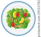 Fresh salad on round plate 29333762
