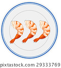 Three pieces of shrimps on round plate 29333769