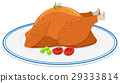 Roast chicken on round plate 29333814