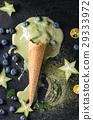 Green tea soft elastic ice cream 29333972