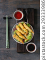 Fried tempura shrimps with sauces 29333986