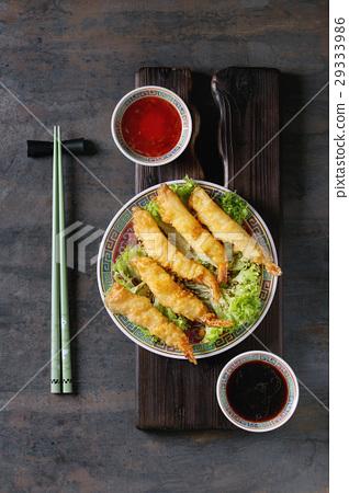 Fried tempura shrimps with sauces 29333986