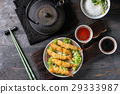 Fried tempura shrimps with sauces 29333987