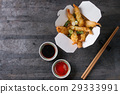 Fried tempura shrimps with sauces 29333991