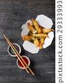 Fried tempura shrimps with sauces 29333993