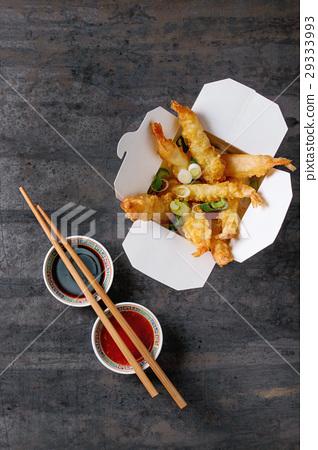 Fried tempura shrimps with sauces 29333993