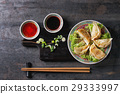 Gyozas potstickers with sauces 29333997