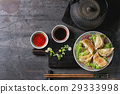Gyozas potstickers with sauces 29333998