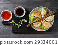 Gyozas potstickers with sauces 29334001