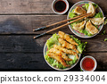 Fried tempura shrimps with sauces 29334004