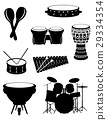 percussion musical instruments set icons vector 29334354
