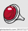 Silver Ring with Big Red Stone Flat Design Web 29337227