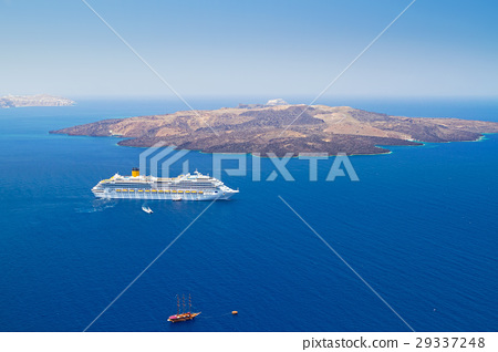 Volcano of Santorini island with ferry, Greece 29337248