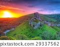 Ruins of the Corfe castle at beautiful sunrise, UK 29337562