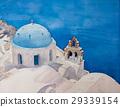 藍色被頂房頂的教會聖托里尼海島Oia 29339154