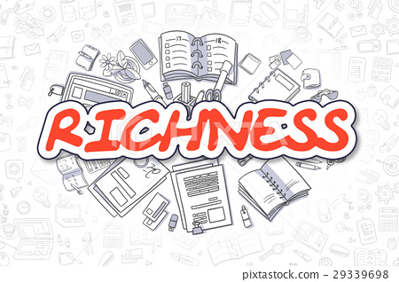 Richness - Doodle Red Text. Business Concept. 29339698