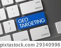 Blue Geo Targeting Button on Keyboard. 3d. 29340996