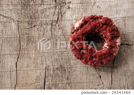 Top view of isolated red velvet donut 29341460