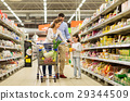 family with food in shopping cart at grocery store 29344509