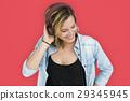 Caucasian Lady Embarassed Studio Concept 29345945