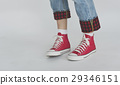 Sneakers Canvas Shoes Human Feet Legs Standing Concept 29346151