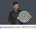 Caucasian Man Bullseye Dart Board Smiling 29347120