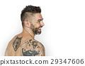 Caucasian Man Back Tattoo Smiling 29347606