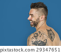 Caucasian Man Back Tattoo Smiling 29347651