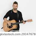 Men Musician Play Guitar Harmonica 29347678