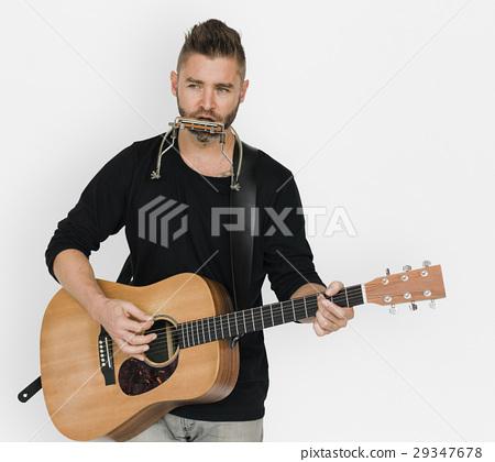 Men Musician Play Guitar Harmonica 29347678