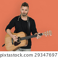 Men Musician Play Guitar Harmonica 29347697